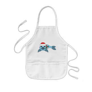 Light Blue Baby Seal with Santa Hat & Silver Bell Kids' Apron