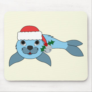 Light Blue Baby Seal with Santa Hat & Silver Bell Mouse Pad
