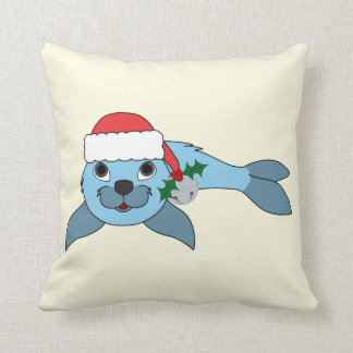 Light Blue Baby Seal with Santa Hat & Silver Bell Throw Pillow