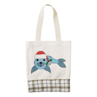 Light Blue Baby Seal with Santa Hat & Silver Bell Zazzle HEART Tote Bag