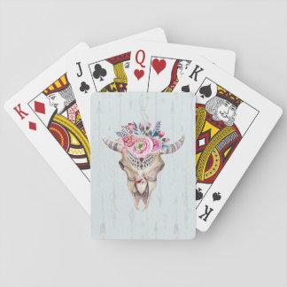 Light Blue Background And Bull Skull Poker Cards