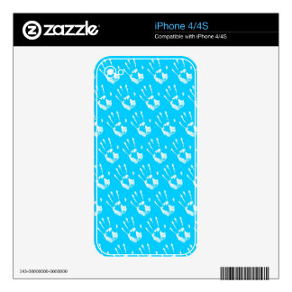 Light blue background with handprint decals for iPhone 4