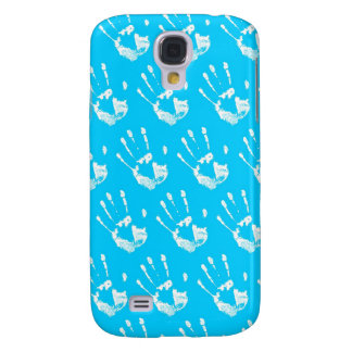 Light blue background with handprint samsung galaxy s4 cover