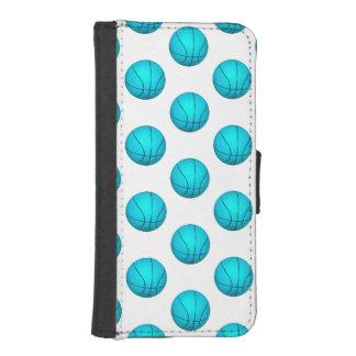 Light Blue Basketball Pattern iPhone SE/5/5s Wallet