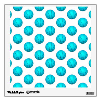 Light Blue Basketball Pattern Wall Decal