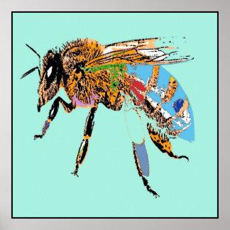 Light Blue Bee Pop Art Poster