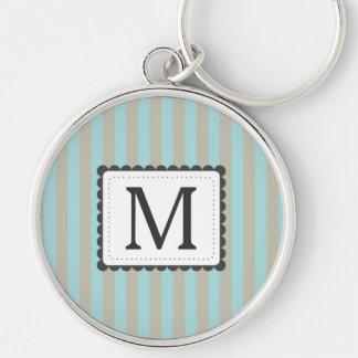 Light Blue & Beige Stripes Custom Monogram Keychain