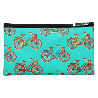 Light Blue Bicycle Medium Cosmetic Bag