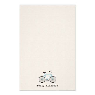 Light Blue Bicycle Personalized Stationery