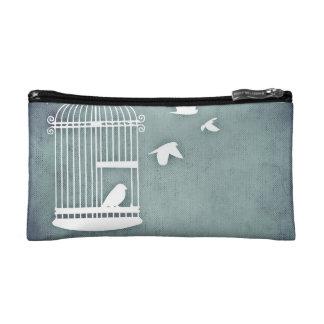 Light Blue Birds Fly Free Cosmetic Bag
