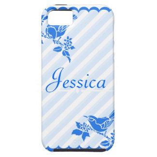 Light Blue Birds With Diagonal Stripes Custom Name iPhone 5 Cases