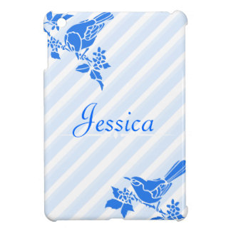 Light Blue Birds With Diagonal Stripes Custom Name Cover For The iPad Mini