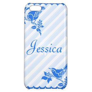 Light Blue Birds With Diagonal Stripes Custom Name iPhone 5C Case