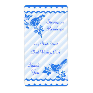 Light Blue Birds With Diagonal Stripes Thank You Label
