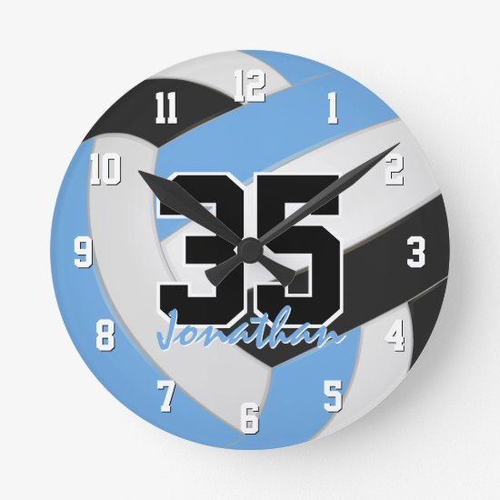 light blue black boy girl personalized volleyball round clock
