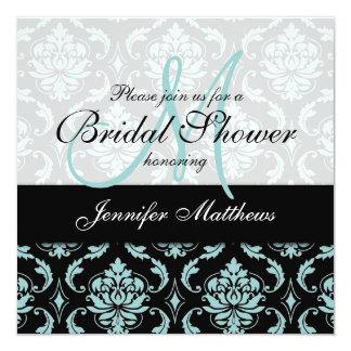 "Light Blue Black Damask Bridal Shower Invitation 5.25"" Square Invitation Card"