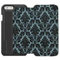 Light Blue/Black Damask iPhone 6 Wallet Case