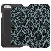 Light Blue/Black Damask iPhone 6 Wallet Case