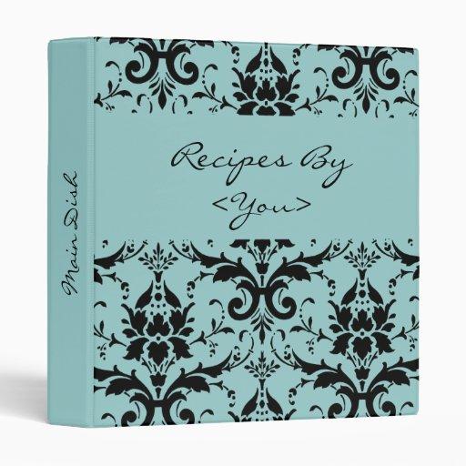 Light Blue & Black Damask Recipe Cook Book Binder