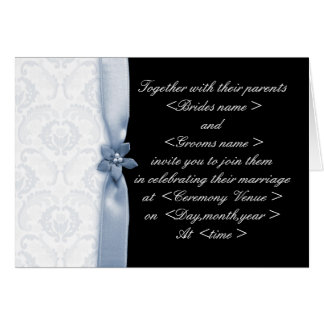 Light Blue & Black Damask Wedding Invitation
