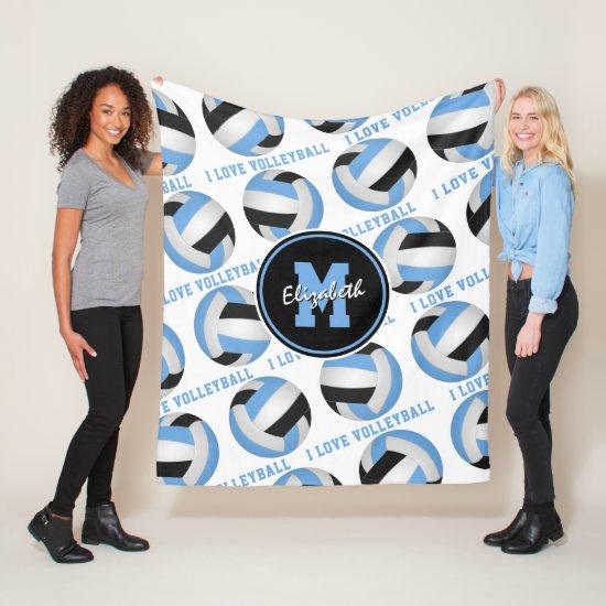 light blue black I love volleyball text pattern Fleece Blanket