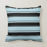 [ Thumbnail: Light Blue, Black & Light Cyan Colored Lines Throw Pillow ]