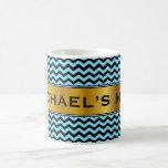 [ Thumbnail: Light Blue & Black Wave Pattern + Custom Name Mug ]