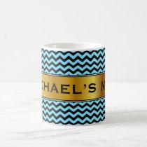 Light Blue & Black Wave Pattern   Custom Name Mug