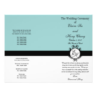 Light Blue Black Wedding Program Chic Monogrammed