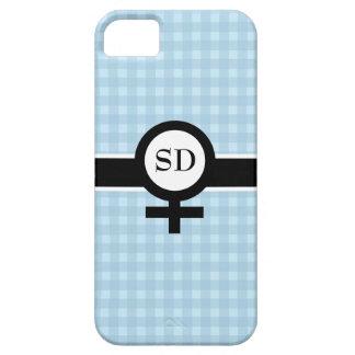 Light Blue/Black/White+Female Sign+Your Initials iPhone SE/5/5s Case