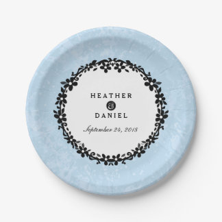 Light Blue Black & White Floral Scroll Wedding 7 Inch Paper Plate