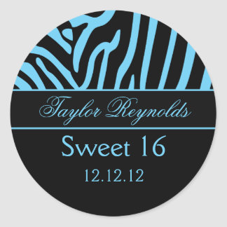 Light Blue Black Zebra Sweet 16 Sticker