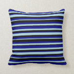 [ Thumbnail: Light Blue, Blue & Black Colored Stripes Pillow ]