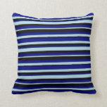 [ Thumbnail: Light Blue, Blue & Black Colored Stripes Pillow ]