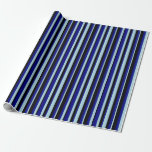 [ Thumbnail: Light Blue, Blue & Black Colored Stripes Wrapping Paper ]