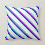 [ Thumbnail: Light Blue, Blue, Violet, Turquoise & Mint Cream Throw Pillow ]