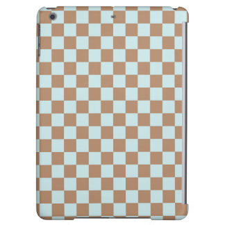 Light Blue Brown Checkered Squares iPad Air Cases