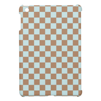 Light Blue Brown Checkered Squares iPad Mini Cases