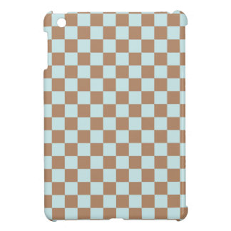 Light Blue Brown Checkered Squares Cover For The iPad Mini