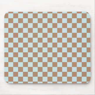 Light Blue, Brown, Checkered Squares Mouse Pad