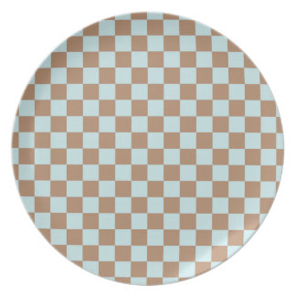 Light Blue, Brown, Checkered Squares Party Plate