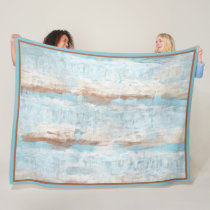 Light Blue Brown White Watercolor Art Stripes Fleece Blanket