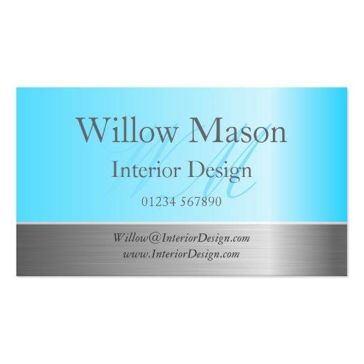 Light Blue & Brushed Steel Monogram Business Card