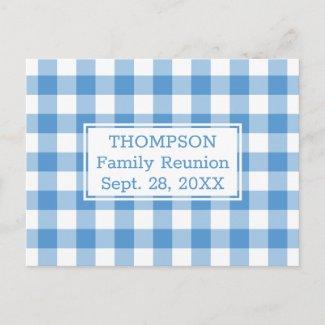 Light Blue Buffalo Check Name Family Reunion Party Invitation Postcard