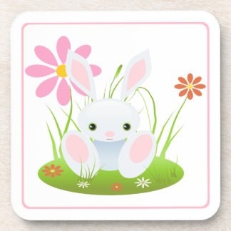 Light Blue Bunny With Flowers Easter Beverage Coaster