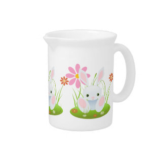 Light Blue Bunny With Flowers Easter Beverage Pitcher