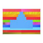 Light Blue Cake on Multicolor Background - Canvas Canvas Prints