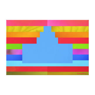 Light Blue Cake on Multicolor Background - Canvas Canvas Prints