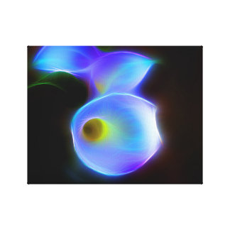 light blue Calla flower neon Canvas Print