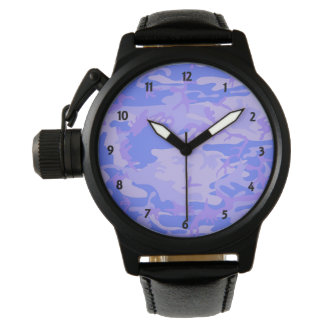 Light Blue Camouflage Mens Leather Strap Watch